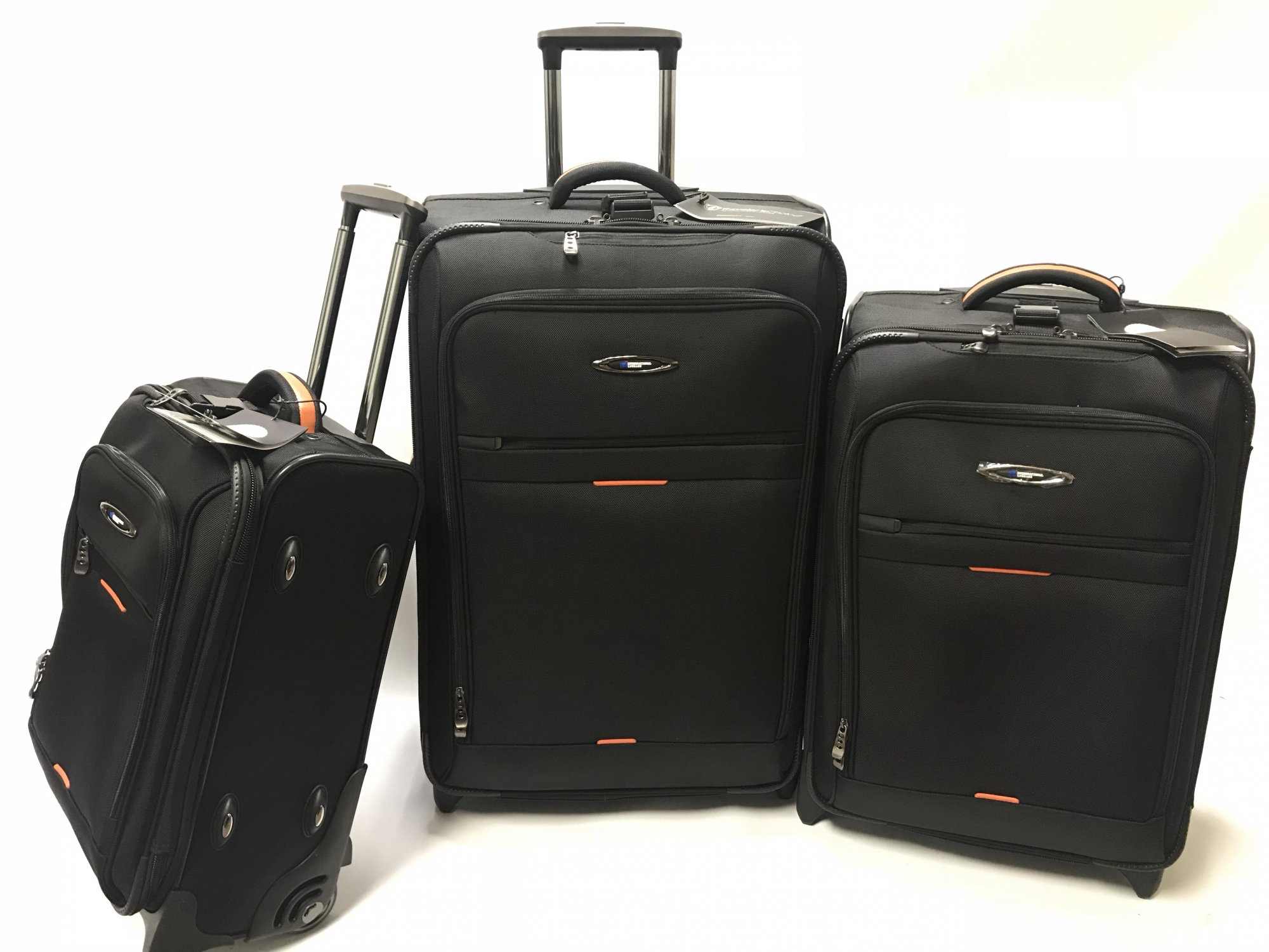 3 Piece Set Black Everest Collection Ballistic Polyester (international travel dimensions) by International Luggage