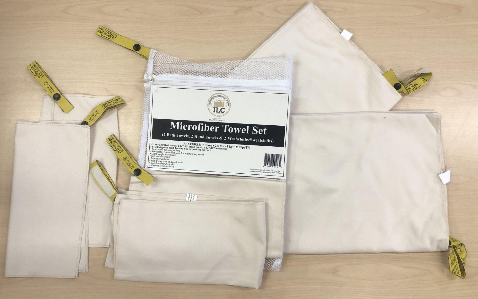 6 piece Microfiber Towel Set (Tan)  International Luggage Collection (White laundry bag)MF6pcsetTN