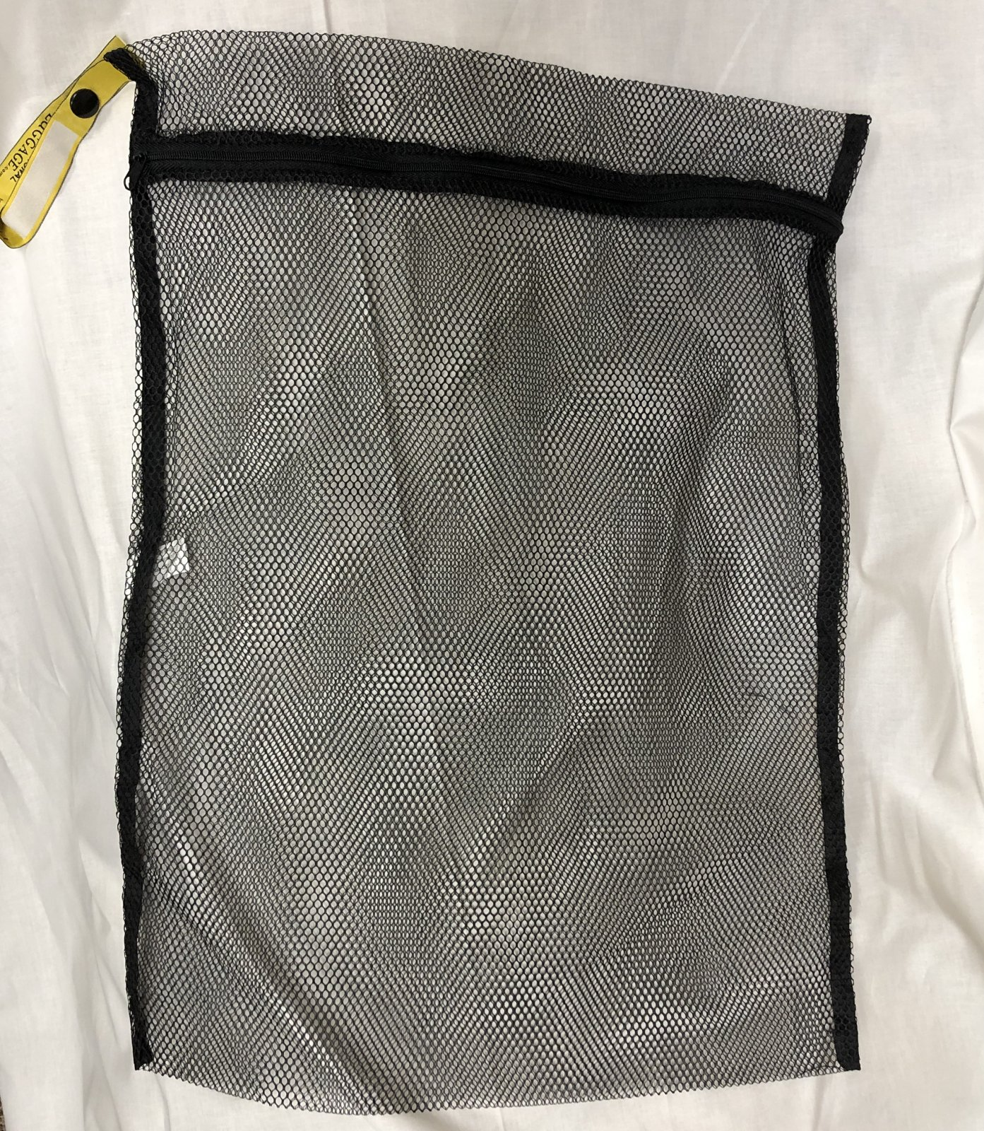Black Small Zippered Mesh Laundry Bag, great for face masks/socks, 16 X 12