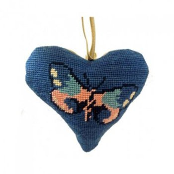Butterfly Heart Needlepoint Ornament Kit
