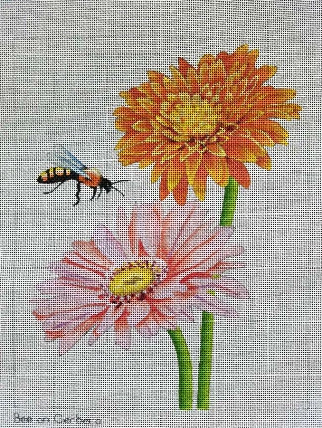 Bee on Gerbera Daisy Needlepoint