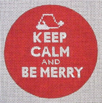 Keep Calm & Be Merry Needlepoint Ornament
