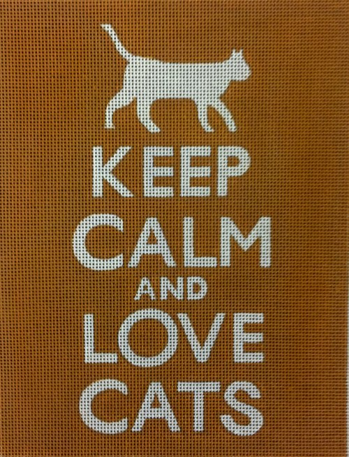 Keep Calm & Love Cats Needlepoint<BR>(Orange)