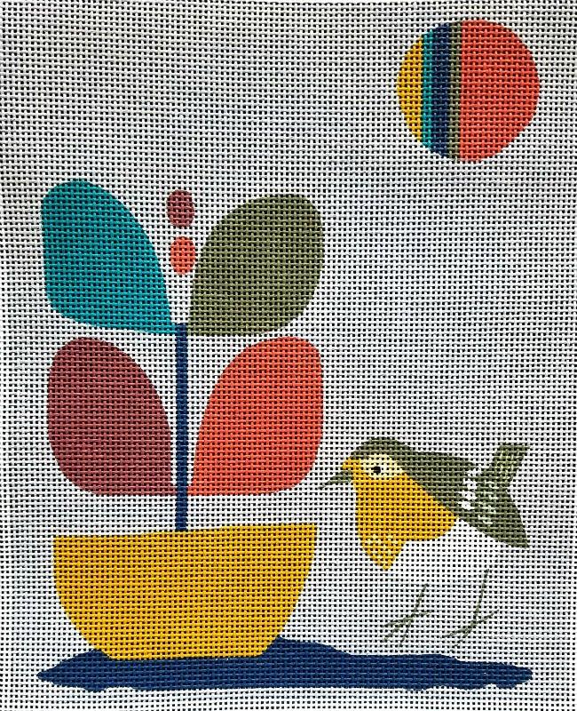 Mid-Century Modern Needlepoint Bird in Garden
