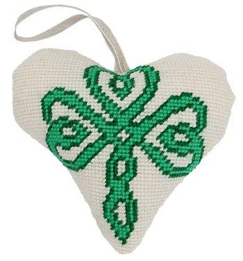 Celtic Shamrock Needlepoint Heart Ornament Kit