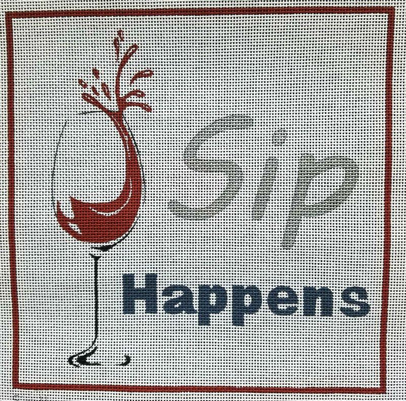 Sip Happens Handpainted Needlepoint