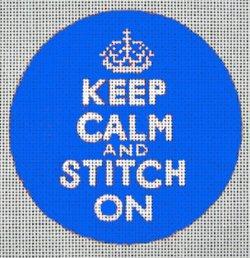 Keep Calm & Stitch On<BR>Needlepoint Ornament (Blue)