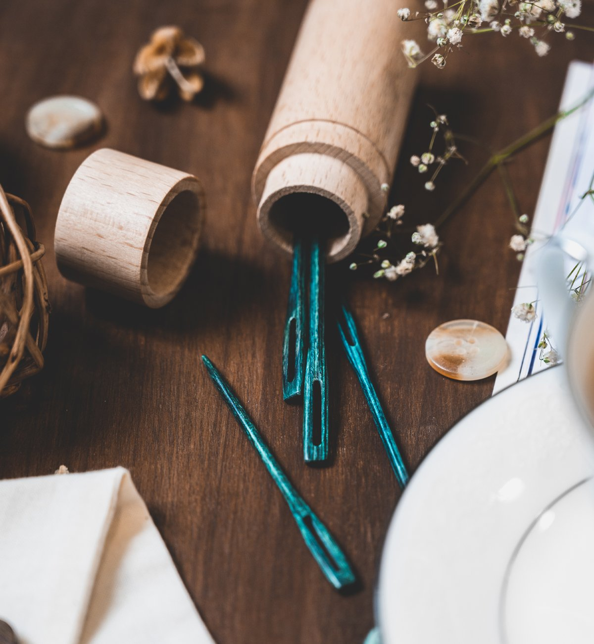 Darning Needles - Teal Wooden (The Mindful Collection)