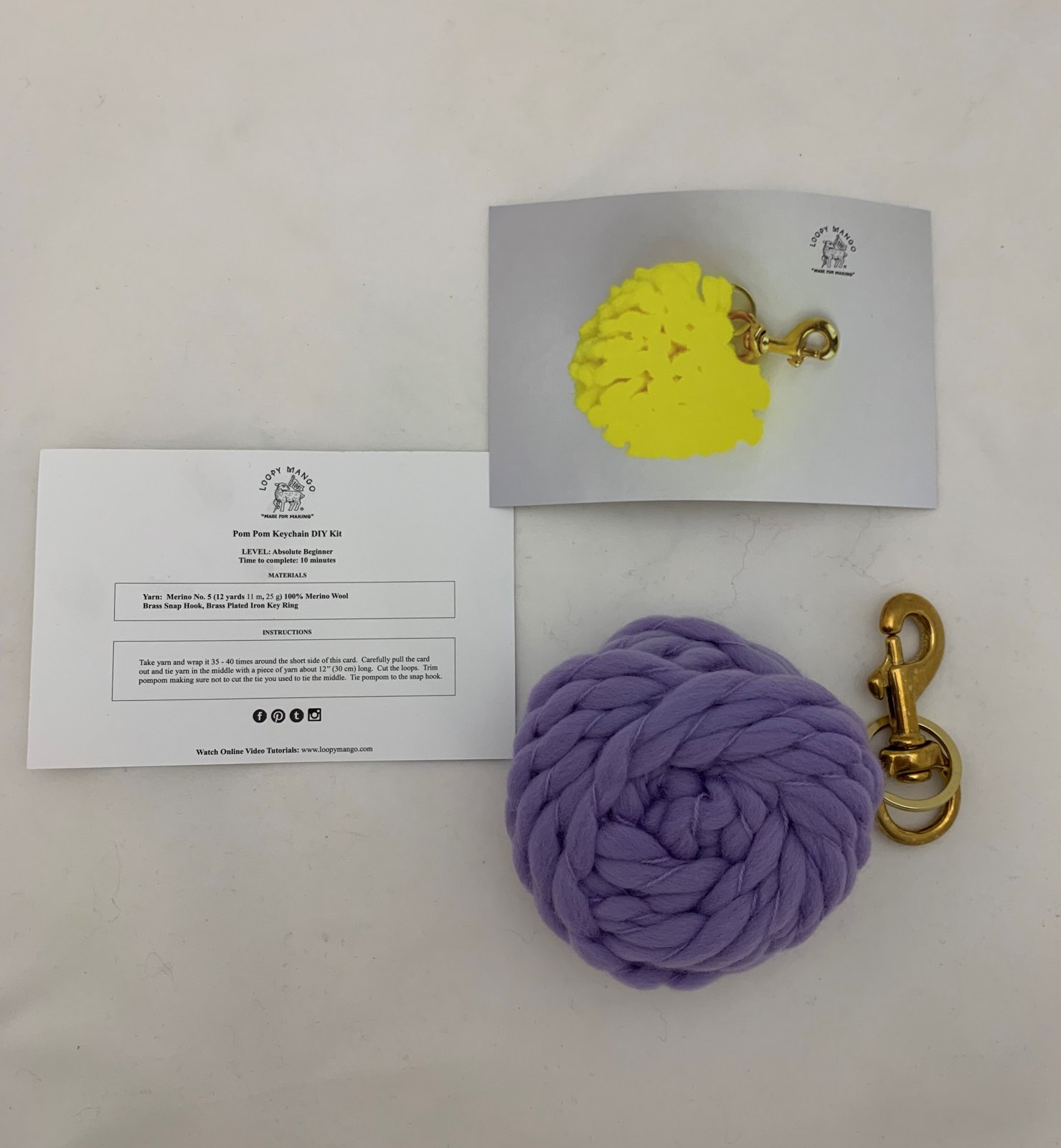 DIY Kit - Pom Pom Keychain (Loopy Mango)