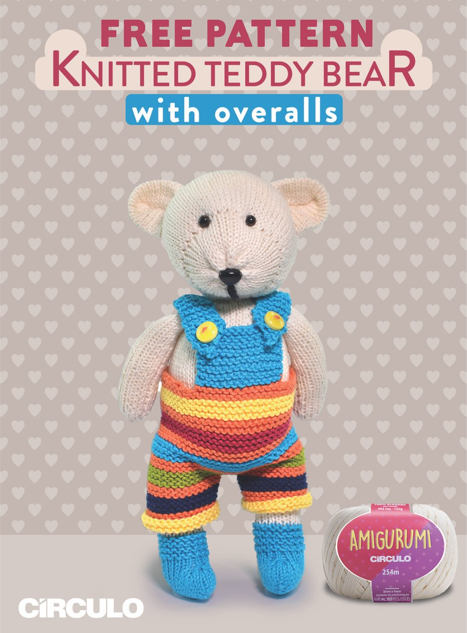Circulo Knitted Teddy Bear with Overalls Amigurumi Pattern (Digital Download)