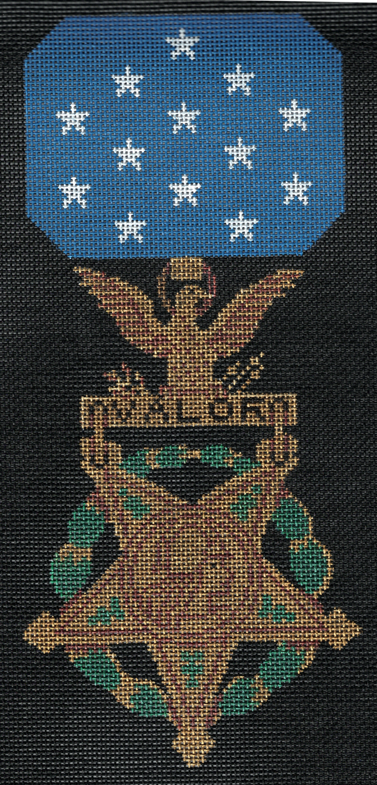 Military Medal of Valor USA on Black Canvas - 18M