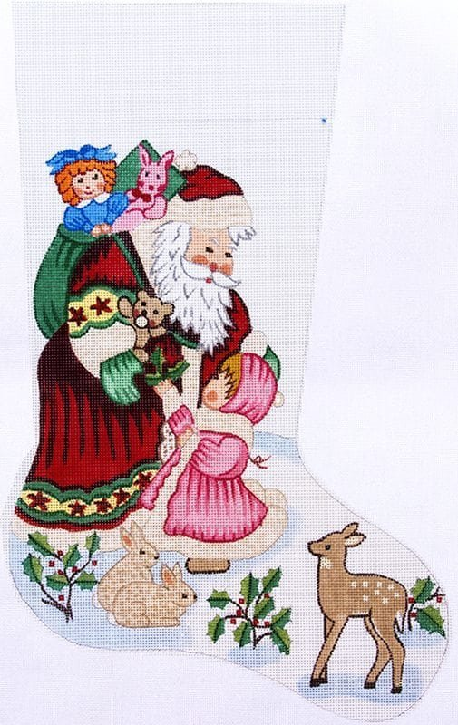 Santa w/ little girl stocking - 19, - 13M