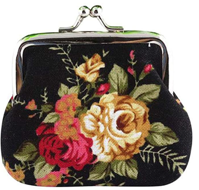Vintage Floral Canvas Coin Purse