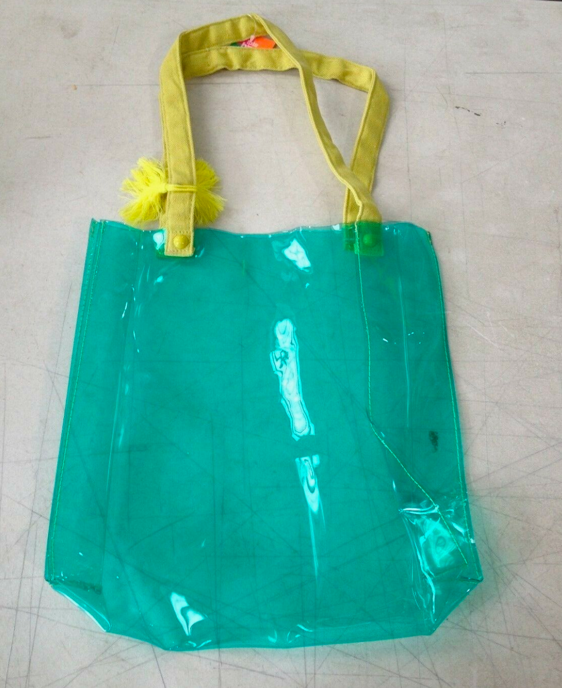 Clear Turquoise Tote with Lime Handles