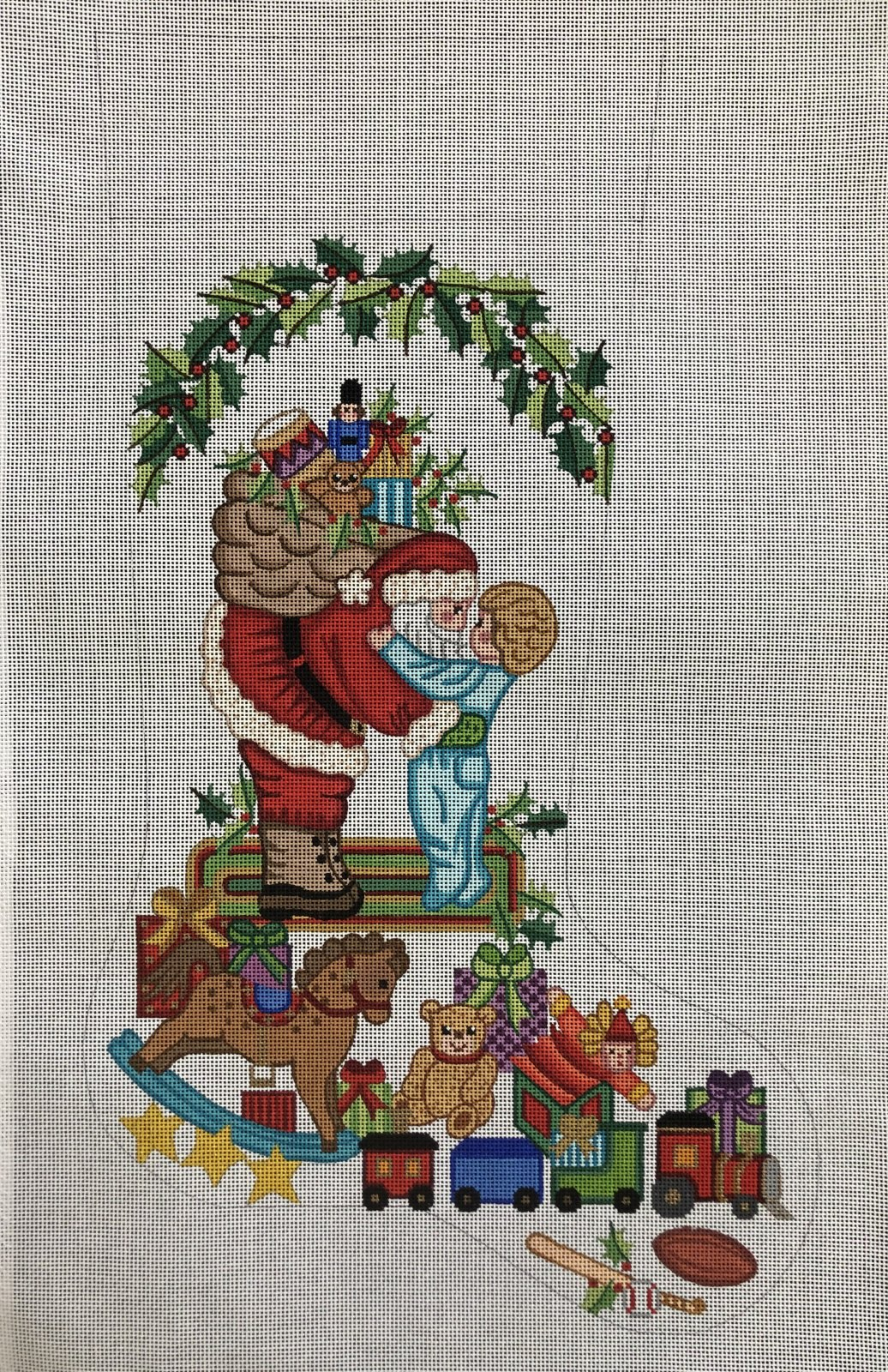 Boy Hugging Santa Stocking - 13M