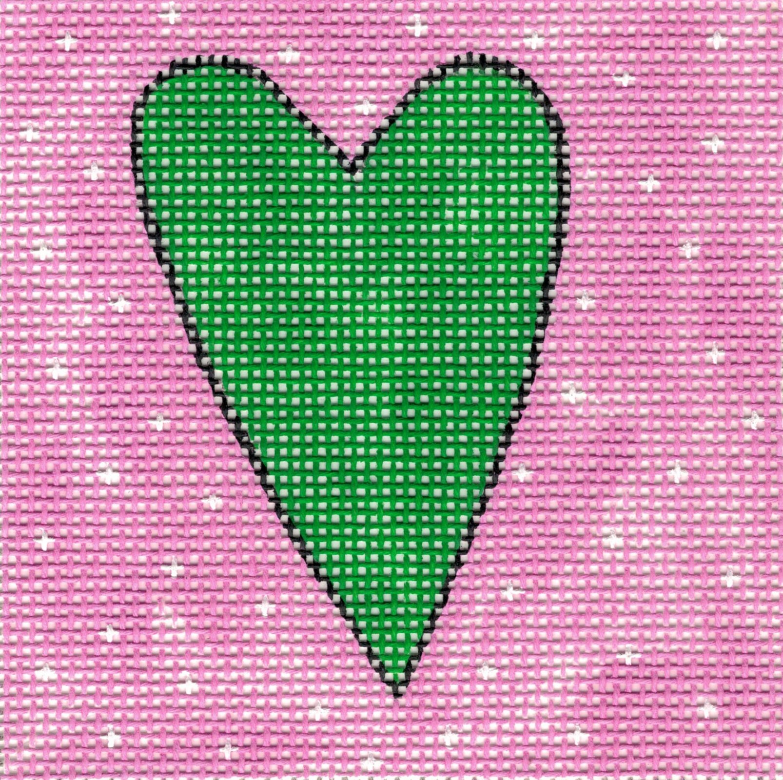 Green Heart on Pink with White Stars - 10M