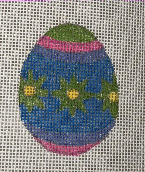 Easter Egg - Green Flowers on Blue - 13M