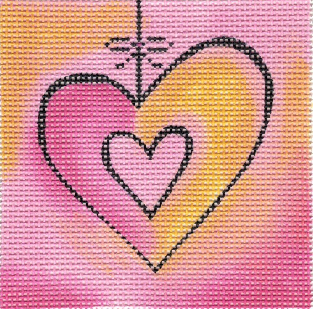Hanging Heart - Orange/Pink - 18M