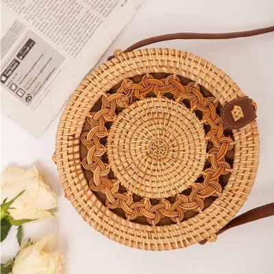 Wicker Purse - Boxed Round with Braid