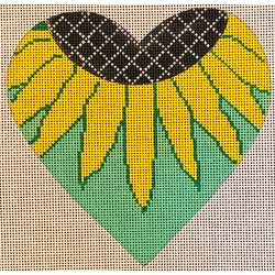 Heart, sunflower on green