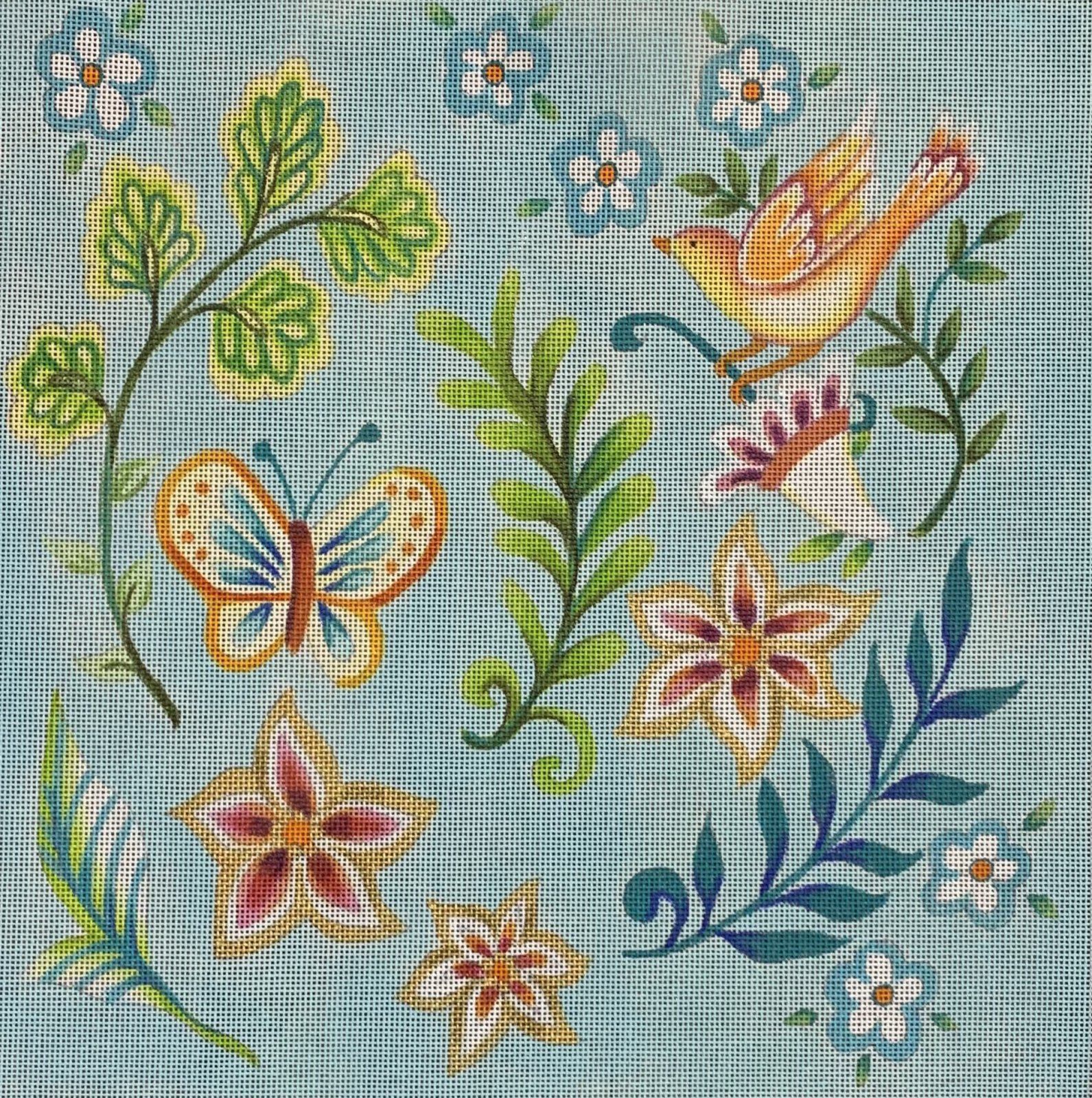 Folk Flower Pattern - light blue
