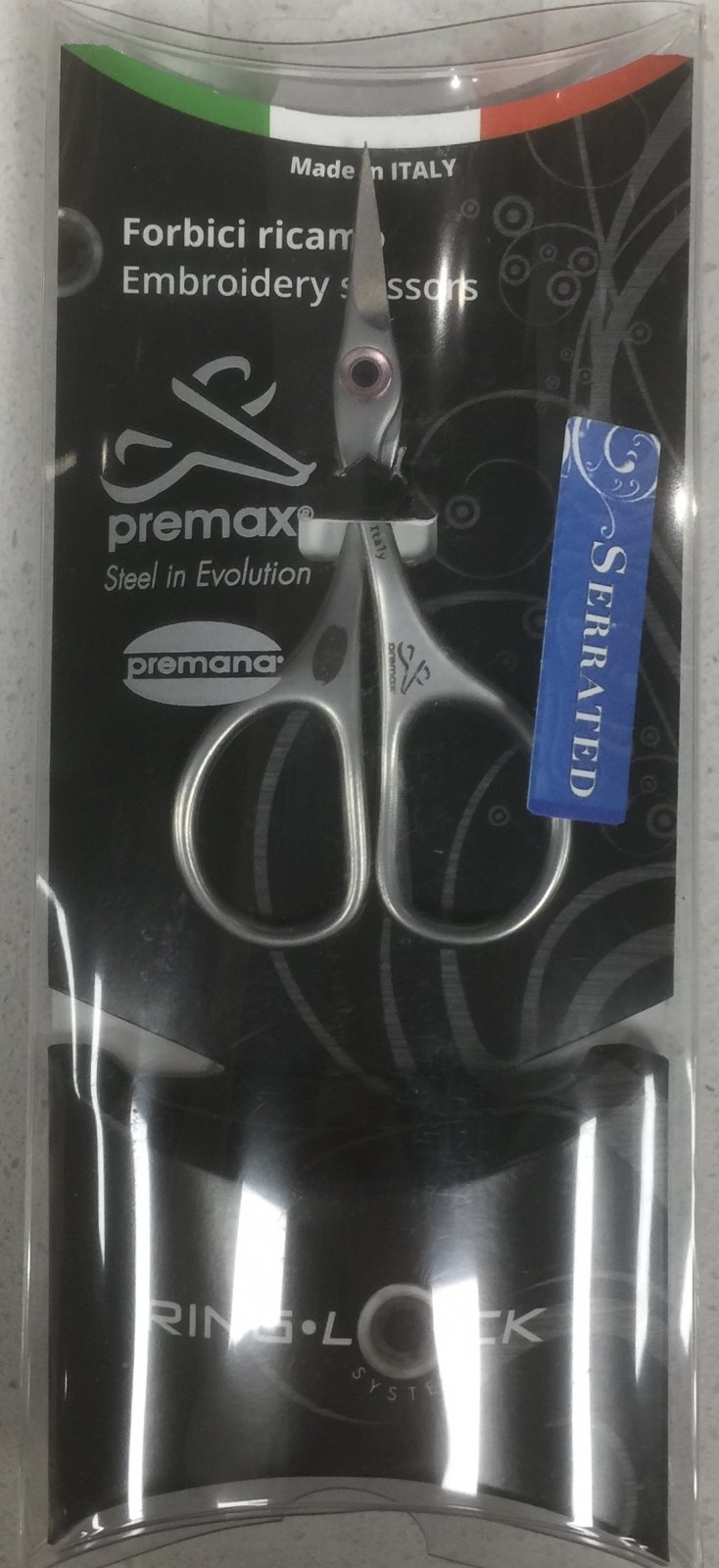 3 3/4 Embroidery Scissors RingLock - serrated
