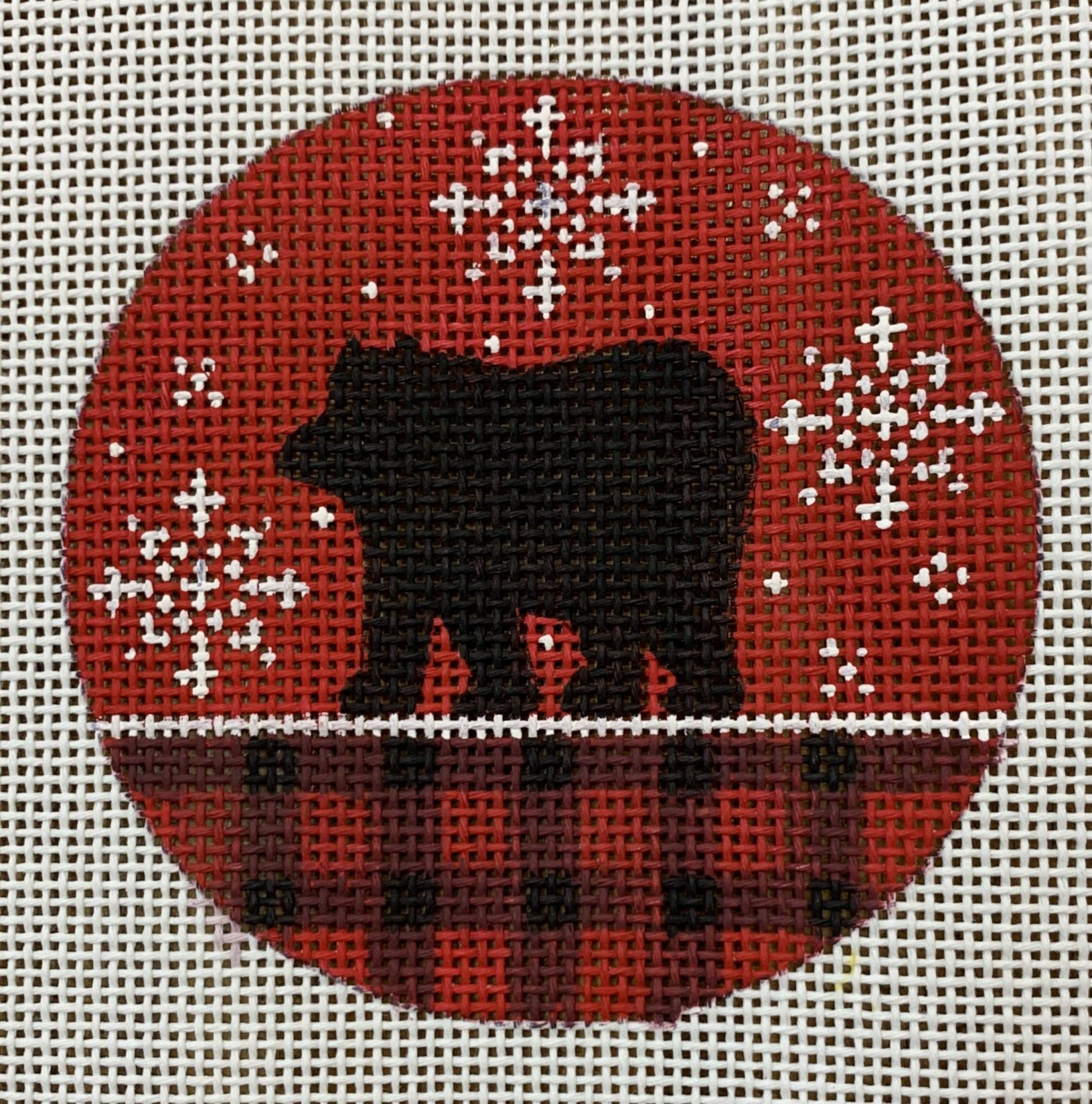 Bear on Red Plaid Ornament