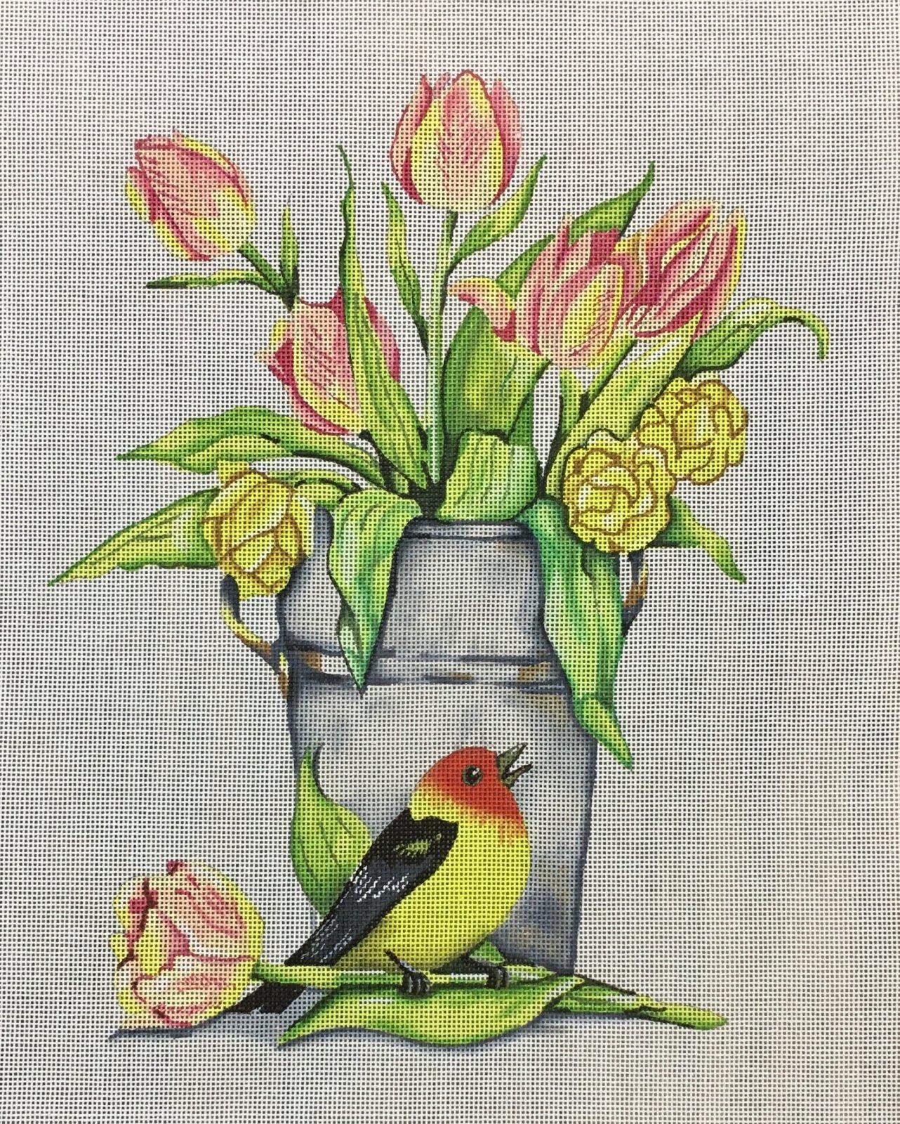 Tulips with Bird