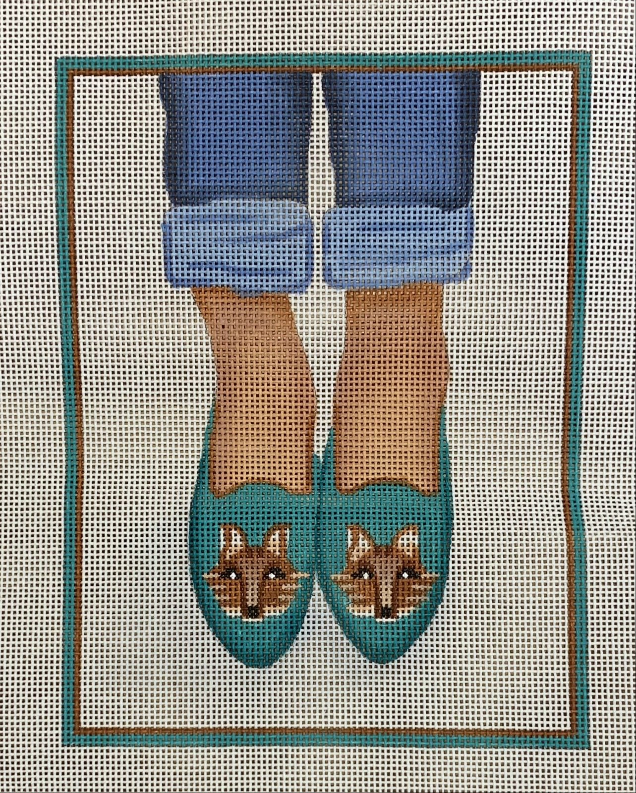 Here's Looking at Shoe - Needlepoint Fox Head Loafers (teal on tan)