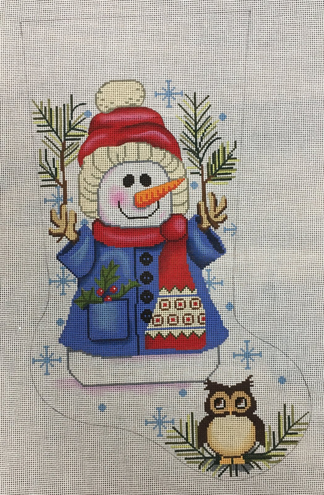 Woodland Snowman Owl Small Stocking