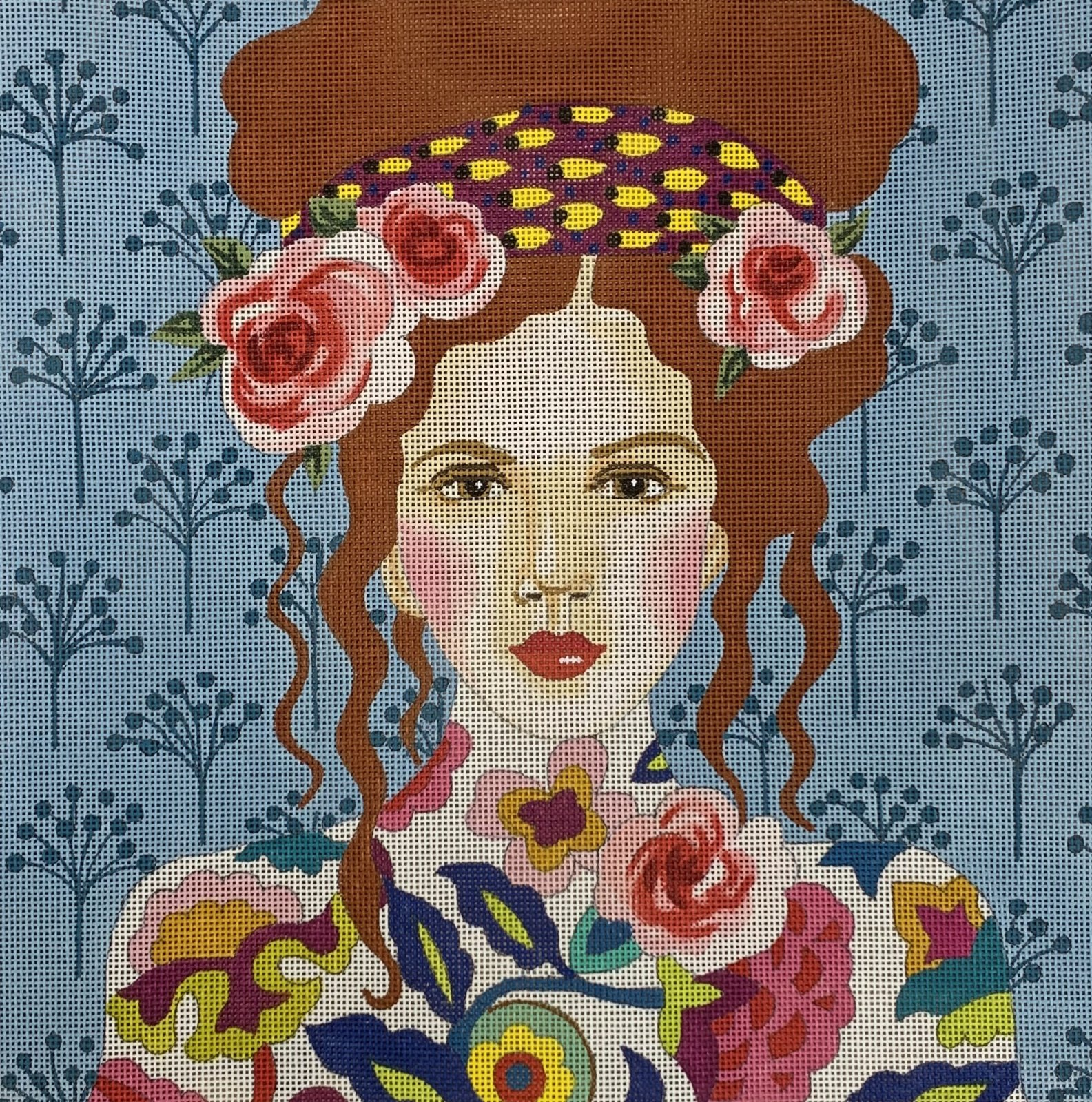 Lady w/ Light Blue Background