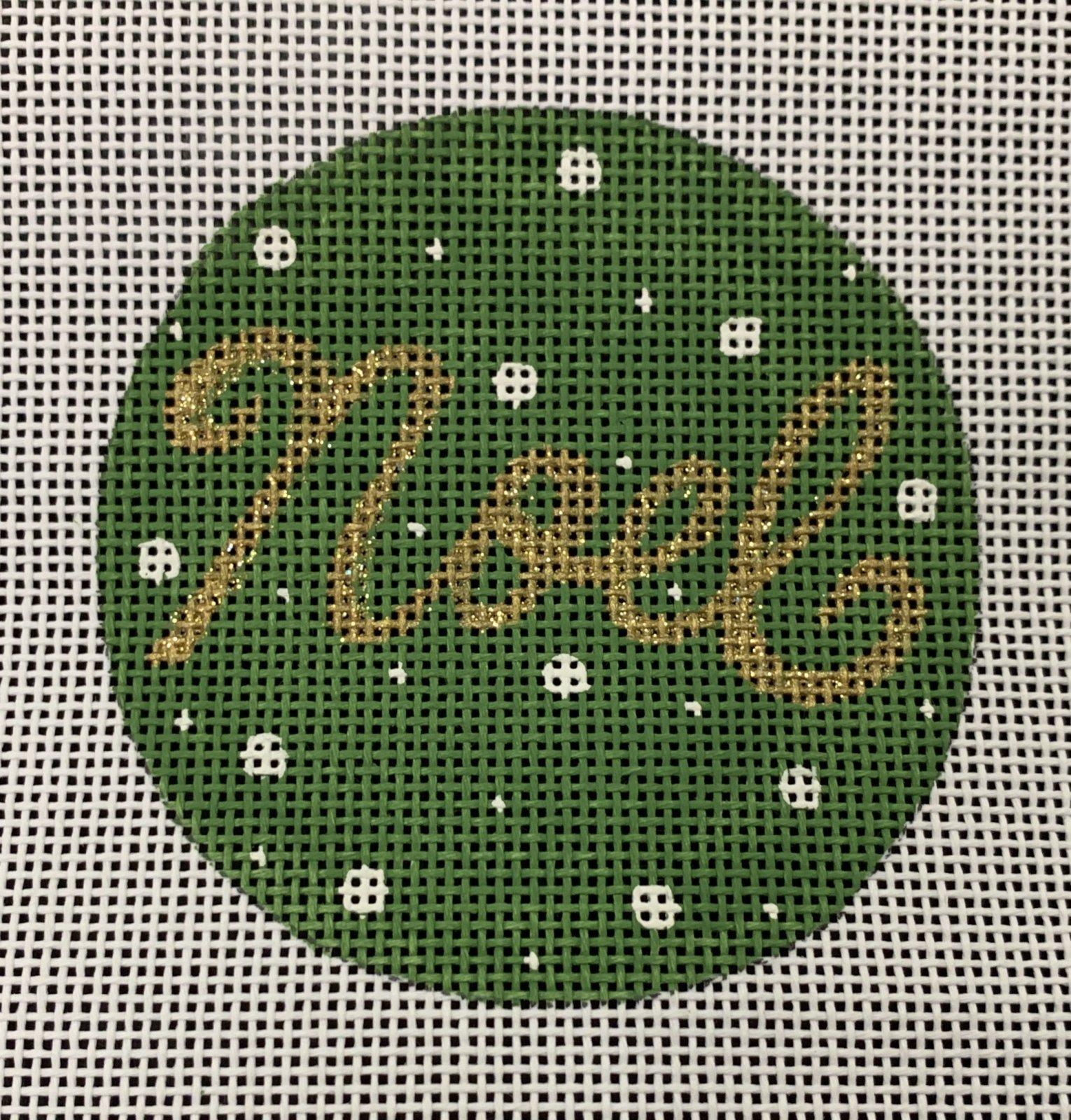 Noel on Green Ornament