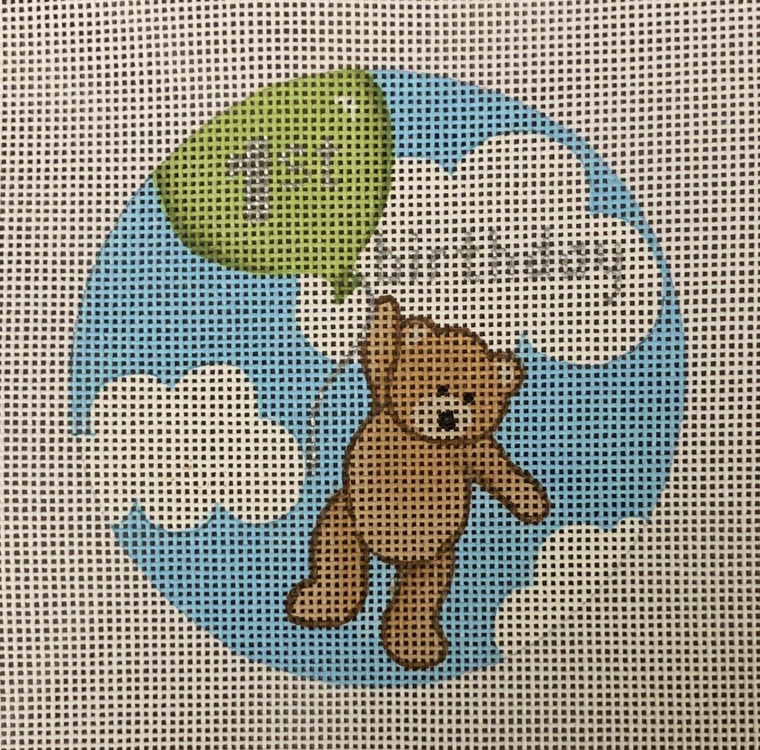 Flying High Teddy 1st Birthday Ornament Green