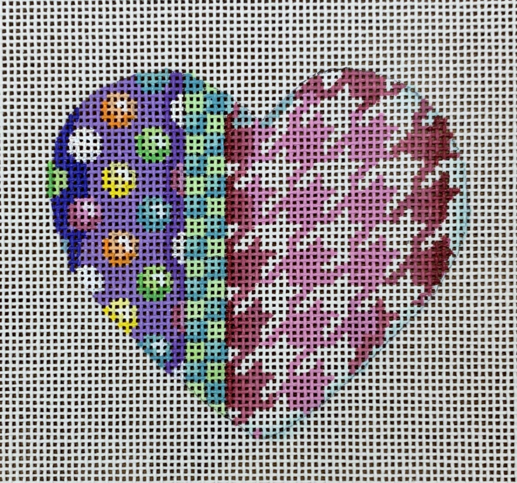 ATTSHE836 Coin dots/Checks/Houndstooth Heart  3.5x3  18