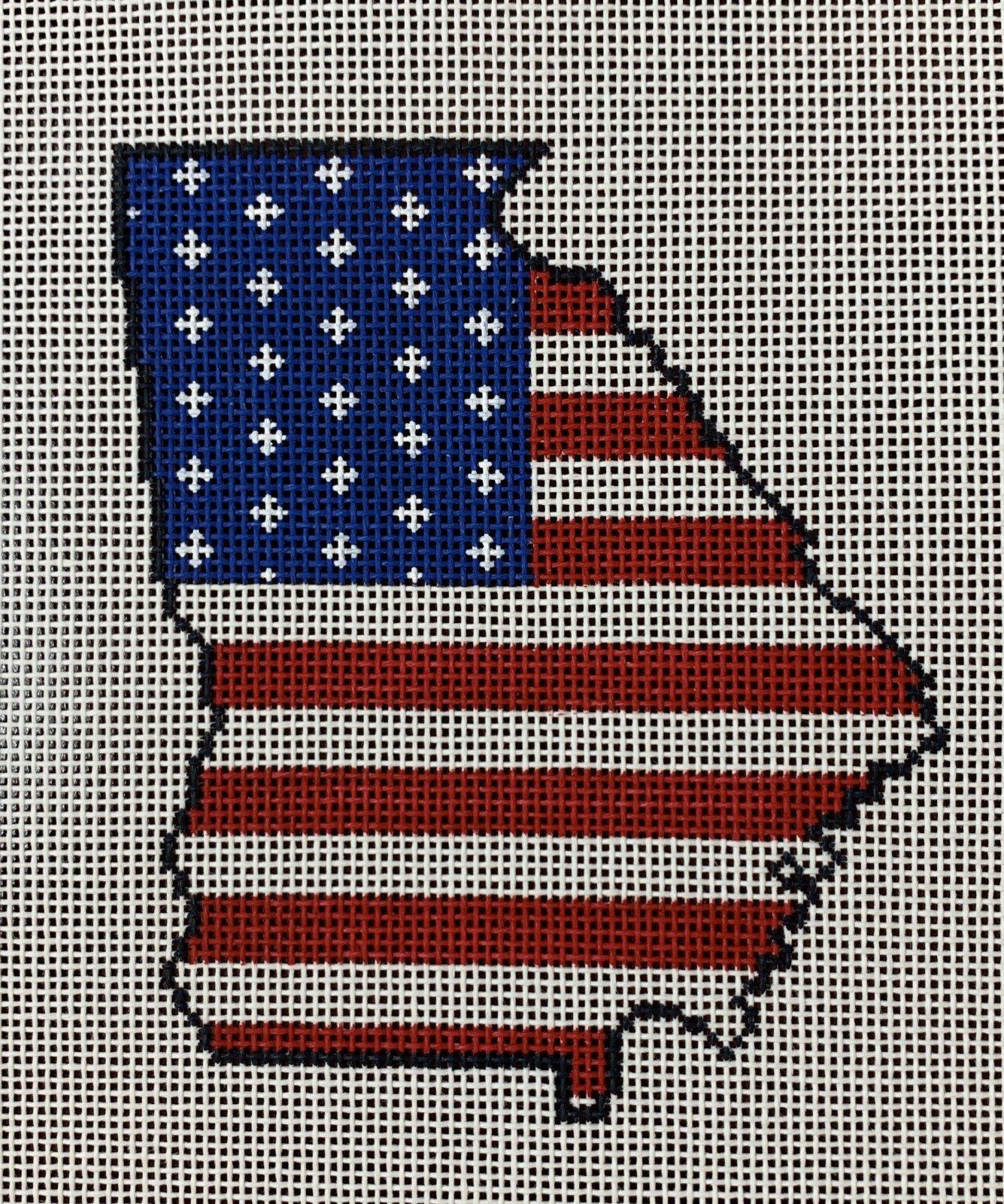 Georgia State Shaped US Flag