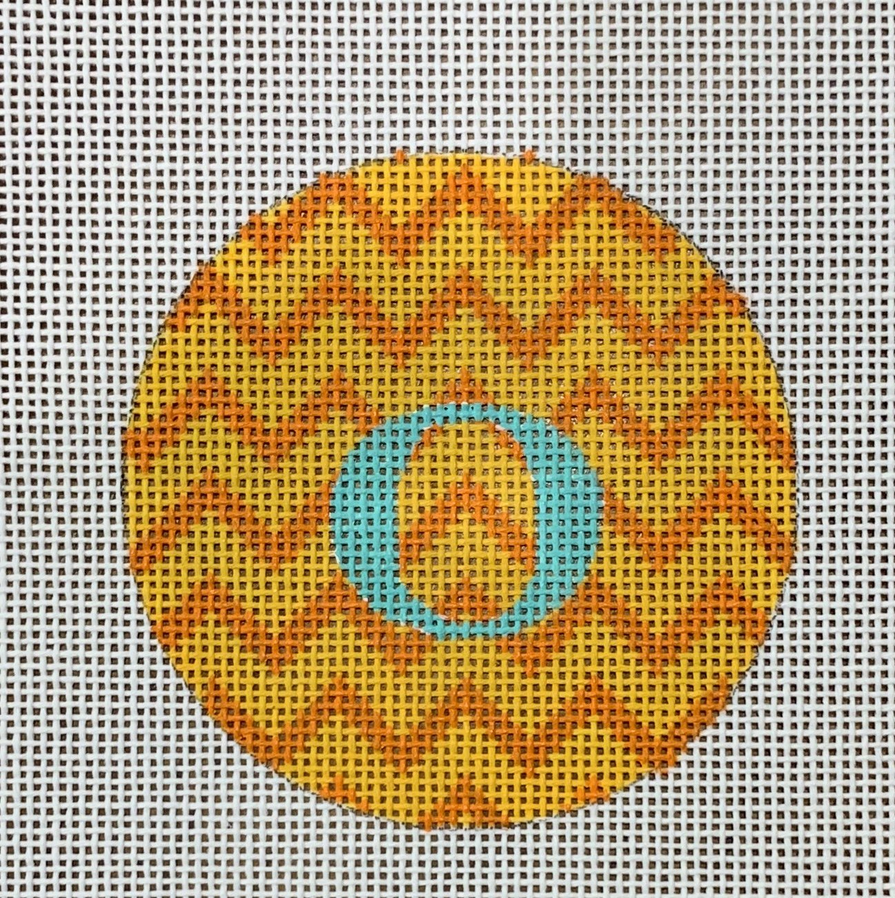 Bright Letter Disk-Oranges Zig Zag w/Turquoise Letter