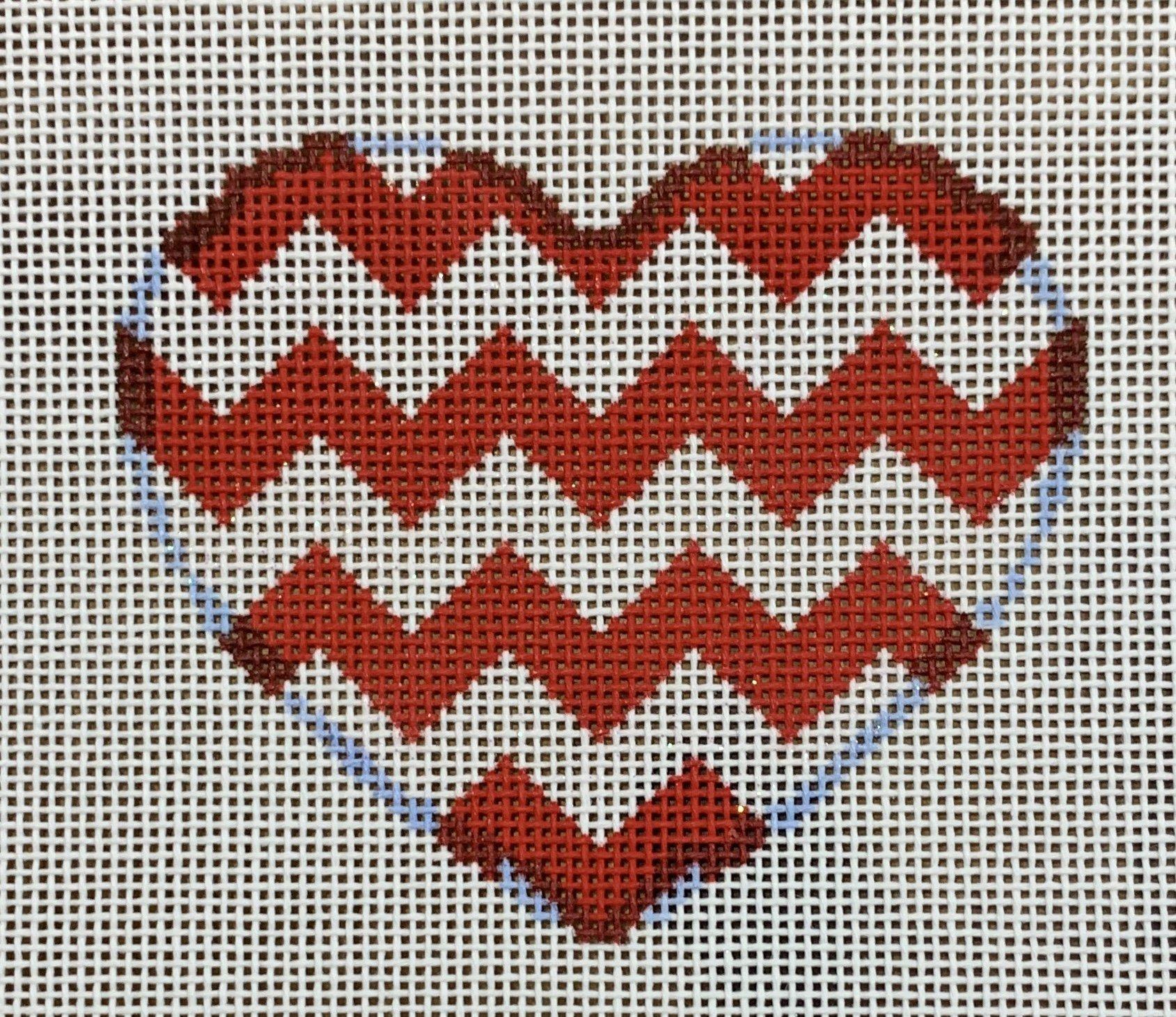 ATTSHE830 Red Chevron Heart  3.5x3  18