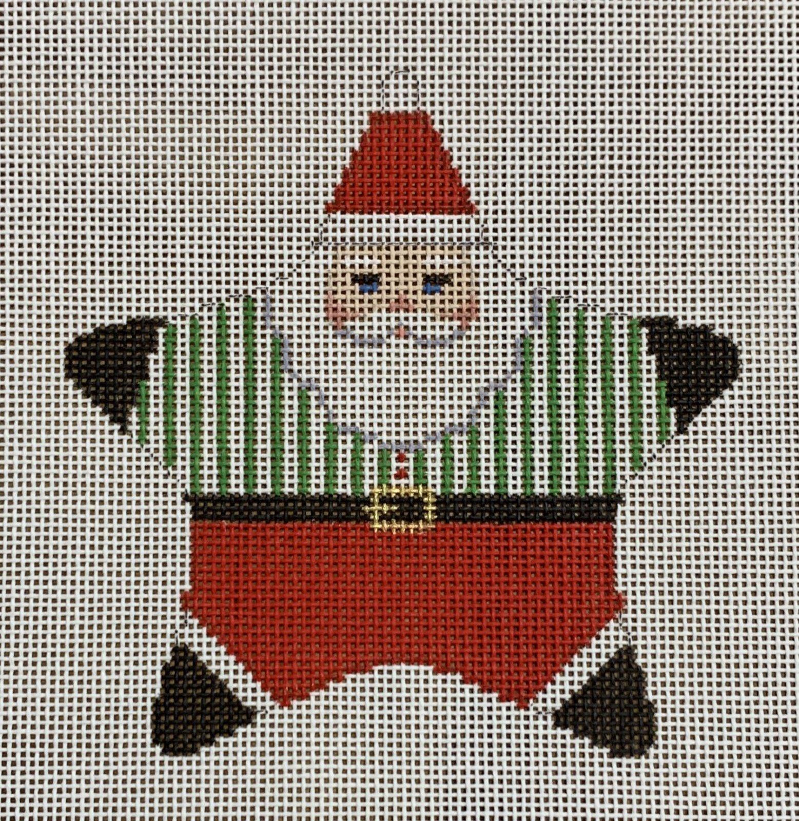 Star Santa, Green Stripe Shirt