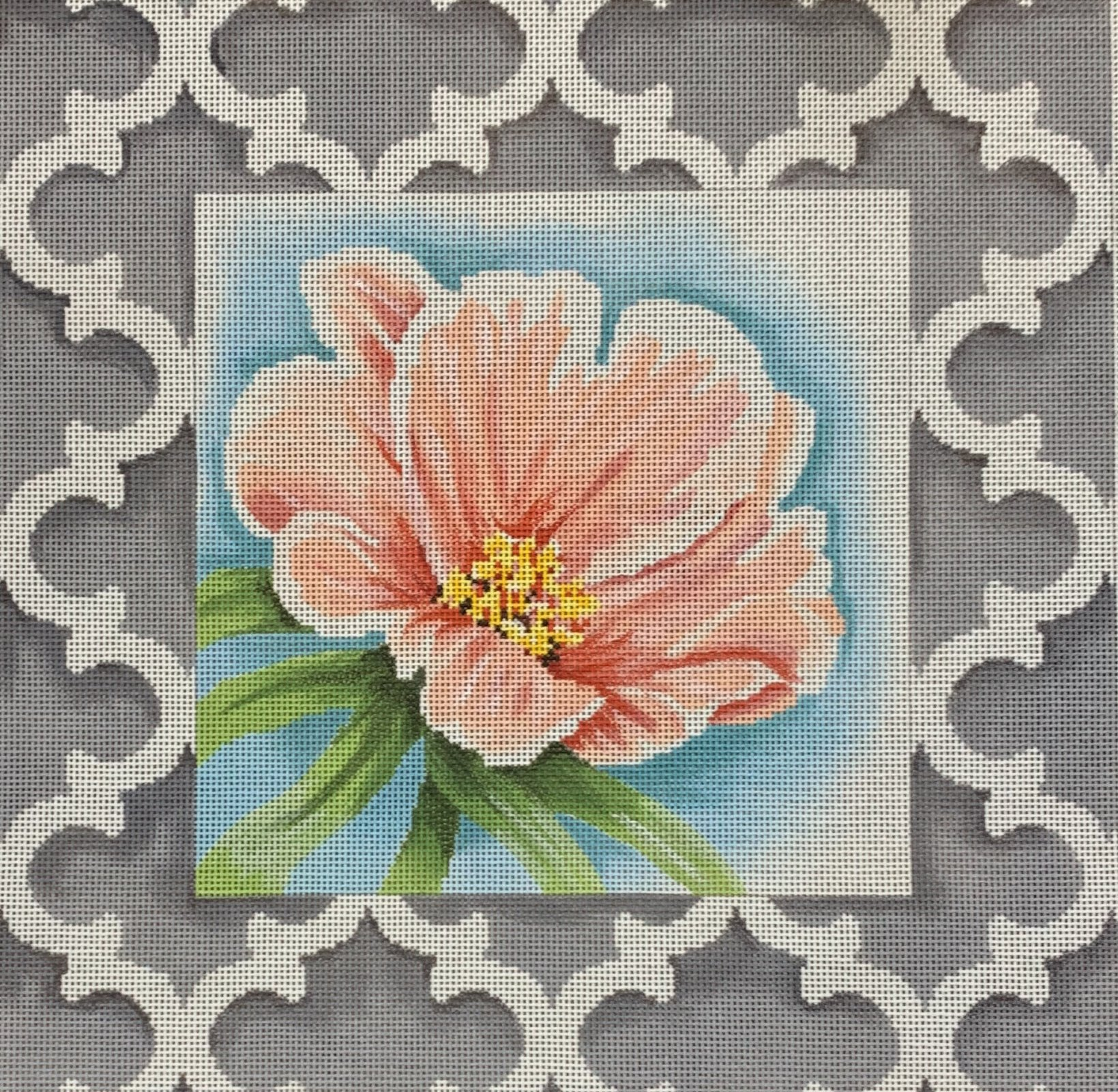 Peach Floral #1/Quatrefoil Border