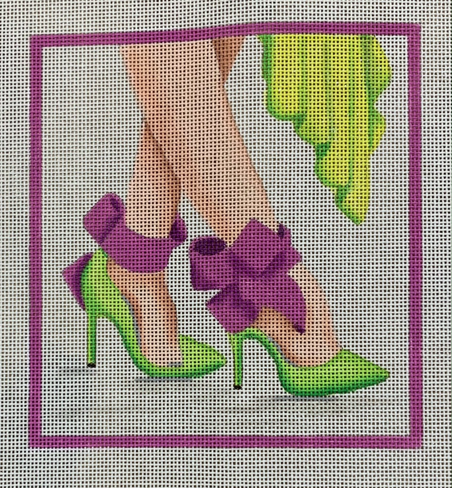 Here's Looking at Shoe - High Heels w/ Ankle-Strap Bows - lime & orchid