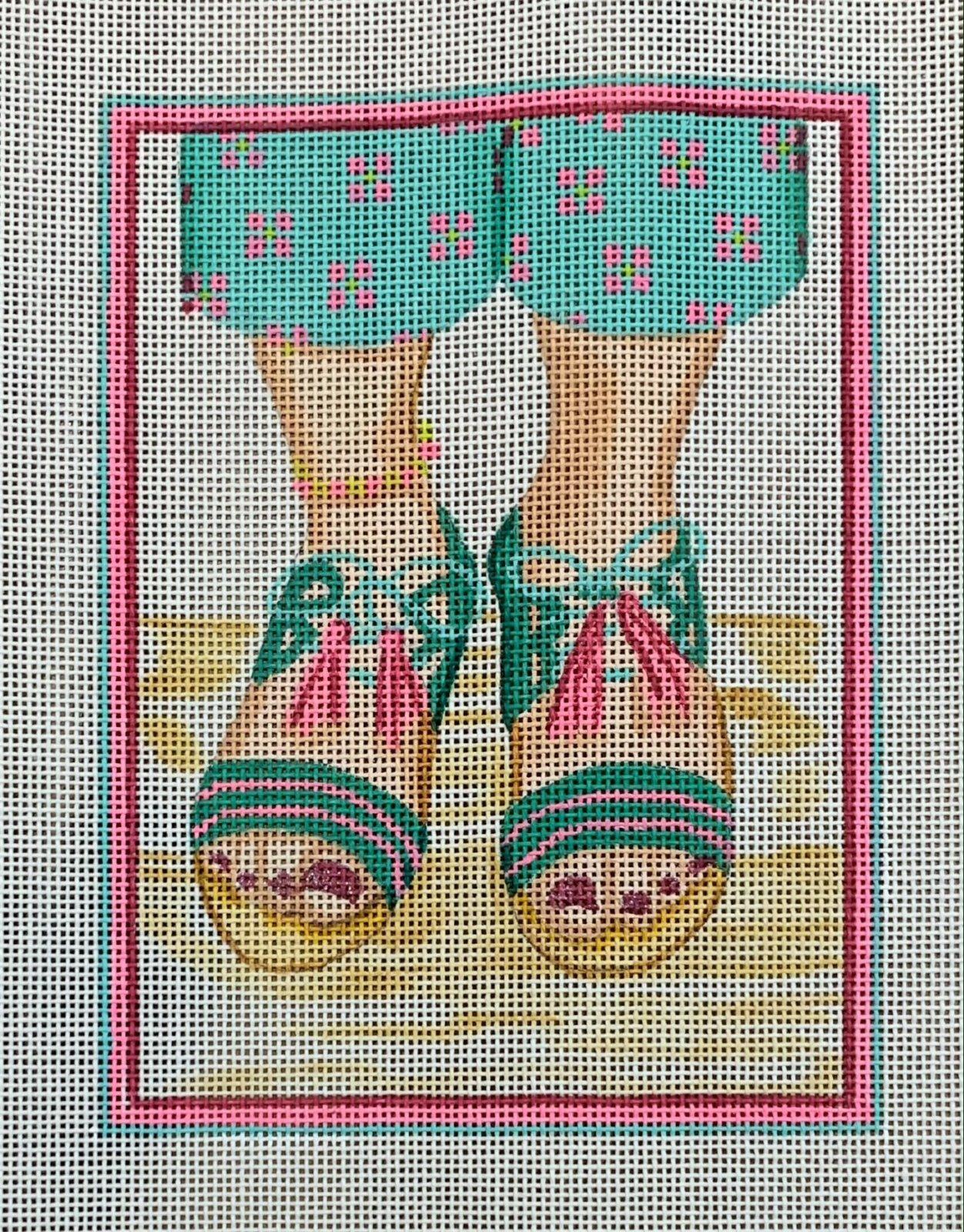 Here's Looking at Shoe - Tassel-tie Sandals - turq jade hot pink