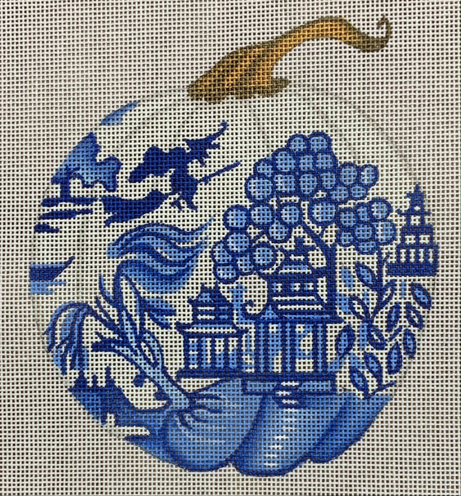 Blue & White Pumpkin w/ Pagoda & Witch