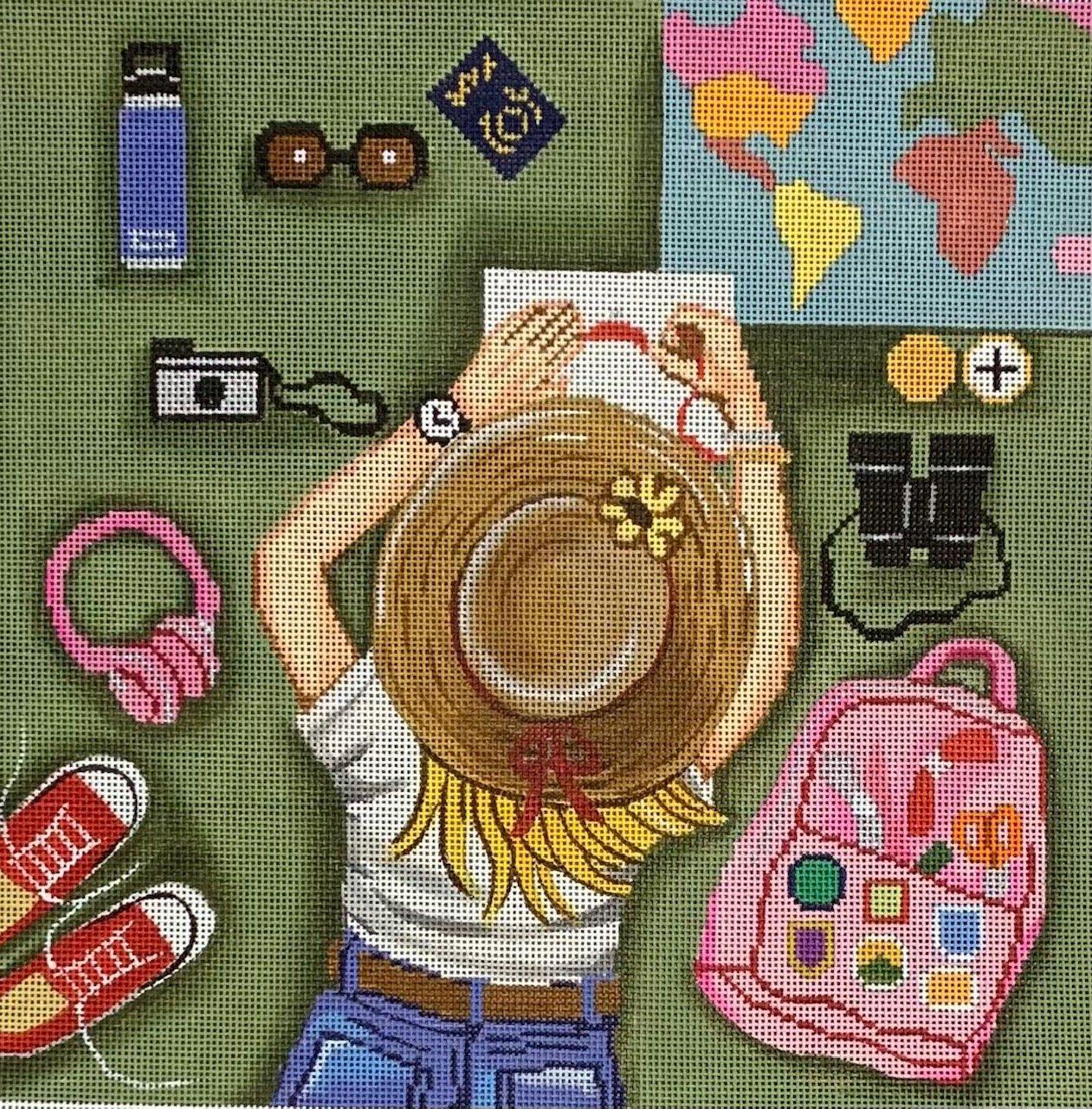 Girl Stitching World Traveler