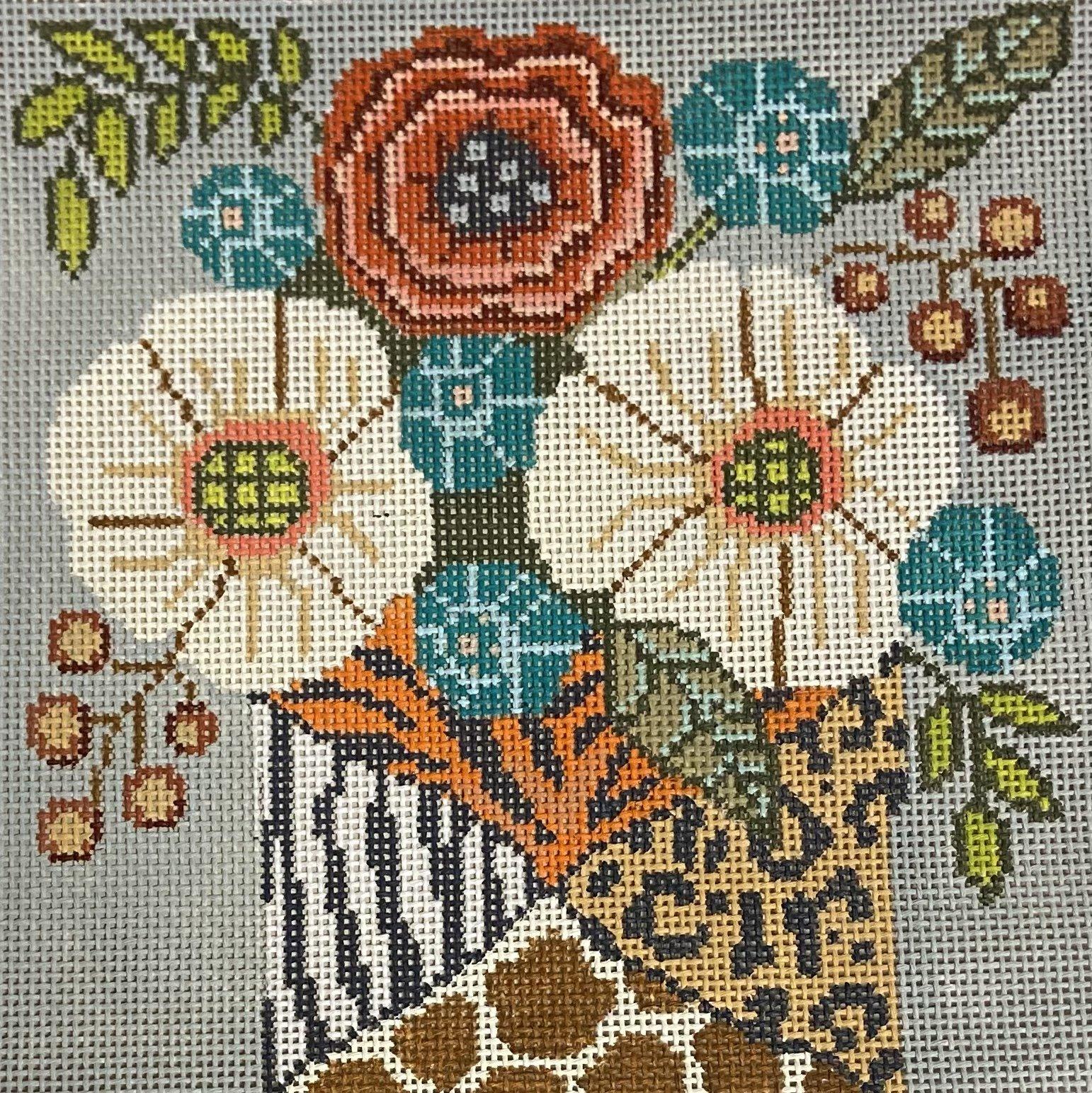 Flowers in Animal Print Vase