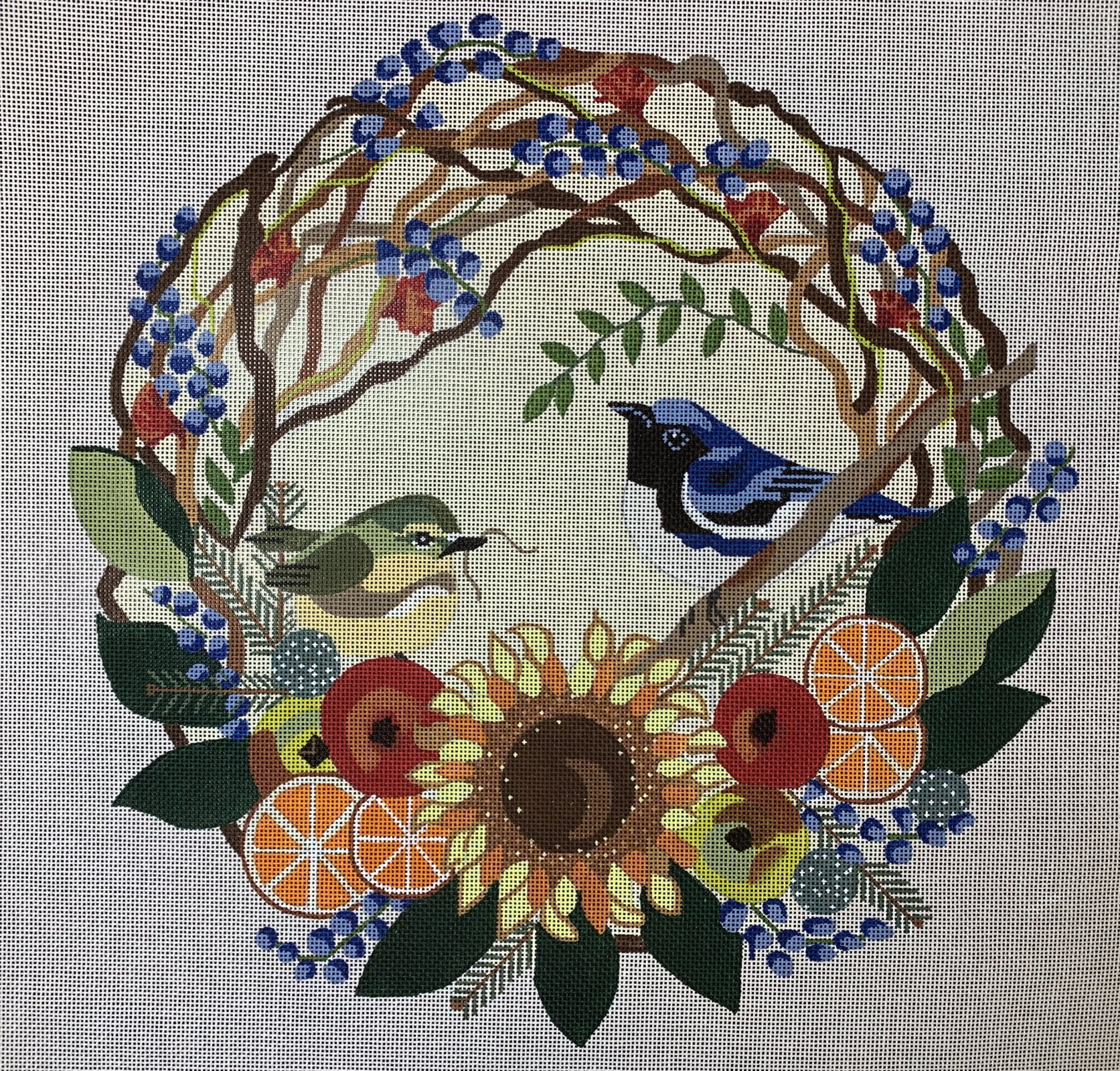 Blue Thrushes in Wreath