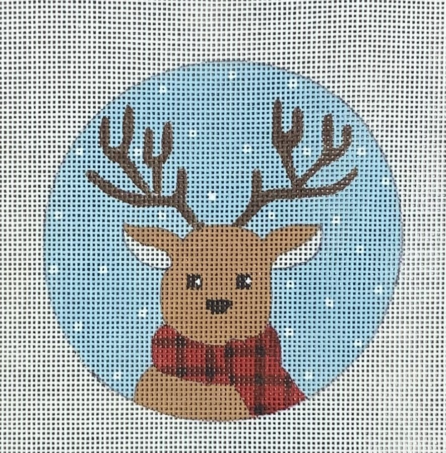 Reindeer on Plaid Scarf