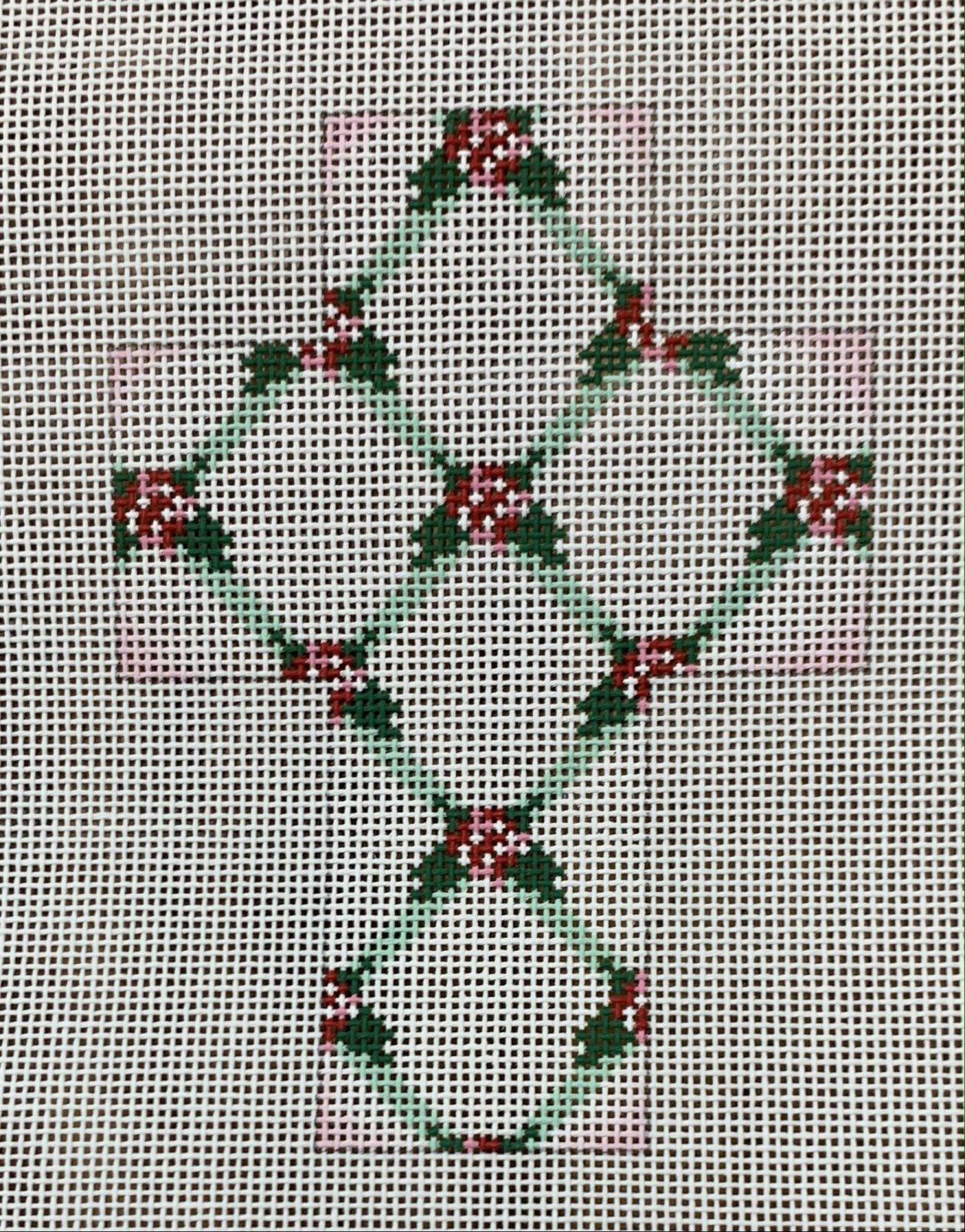 Lattice with Pink Flowers Cross