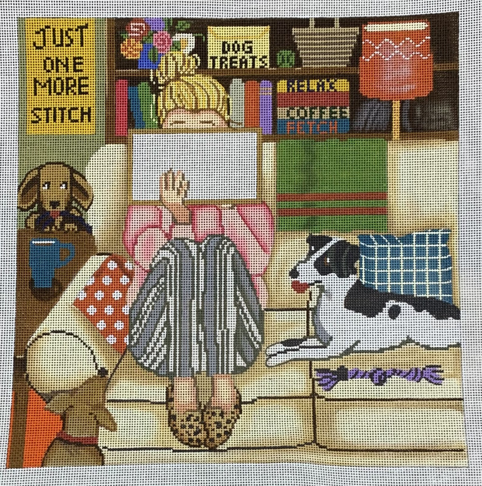 Stitching Girl with Dogs