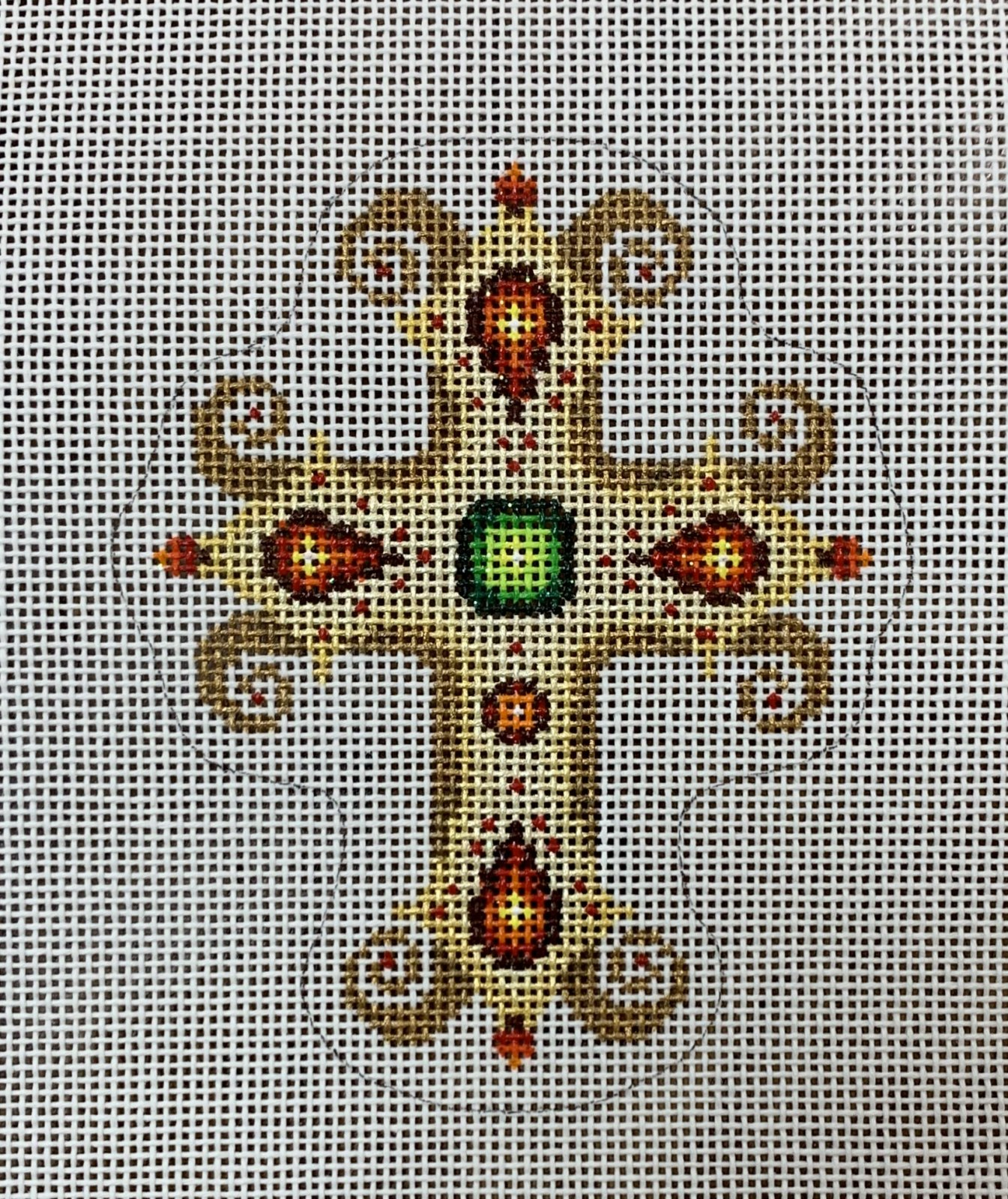 Cross - Gold w/ Red & Green Jewels