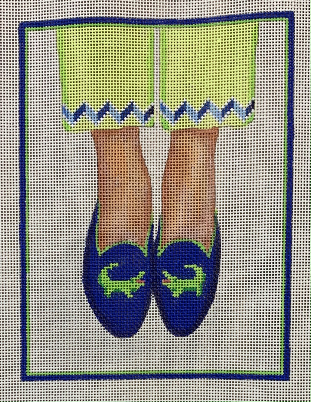 Here's Looking at Shoe - Needlepoint Gator Loafers